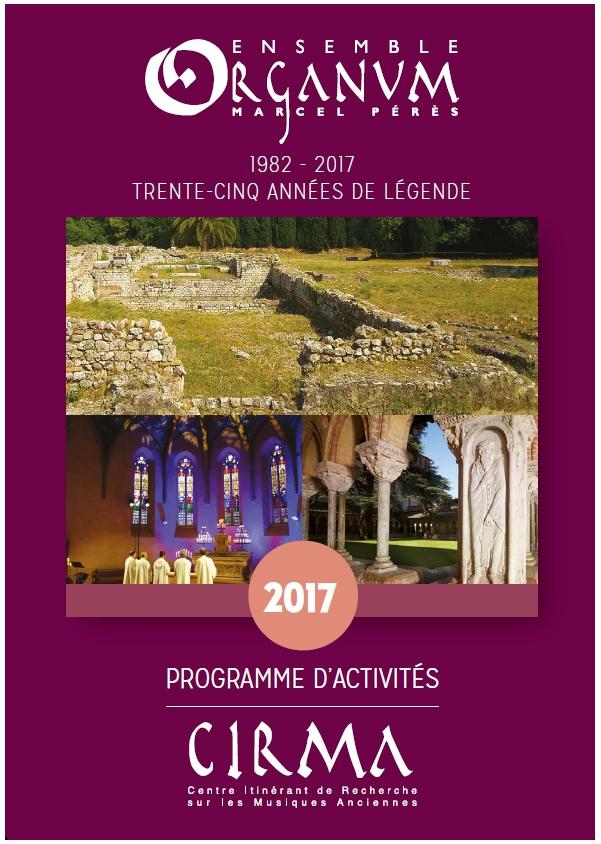 Organum CIRMA - Affiche programme d'activités 2017